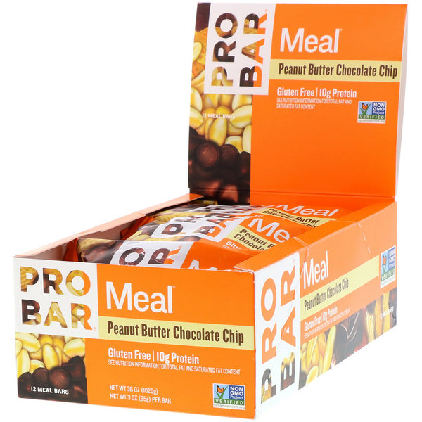 ProBar Simply Real Bar Meal - Peanut Butter Chocolate Chip (85g) - Box of 12