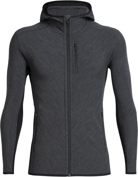 Icebreaker Descender Long Sleeve Zip Hood - Men's Color: Jet Heather/Black
