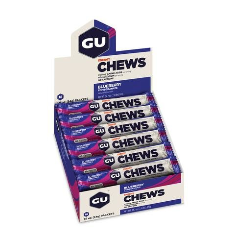 GU Energy Chews - Blueberry Pomegranate - Box of 18 packs (54g each)