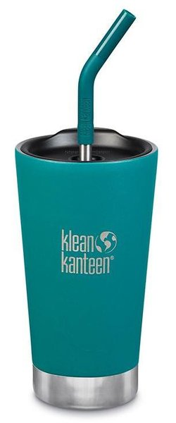 Klean Kanteen Insulated Tumbler 16oz w/Straw Lid Color: Emerald Bay