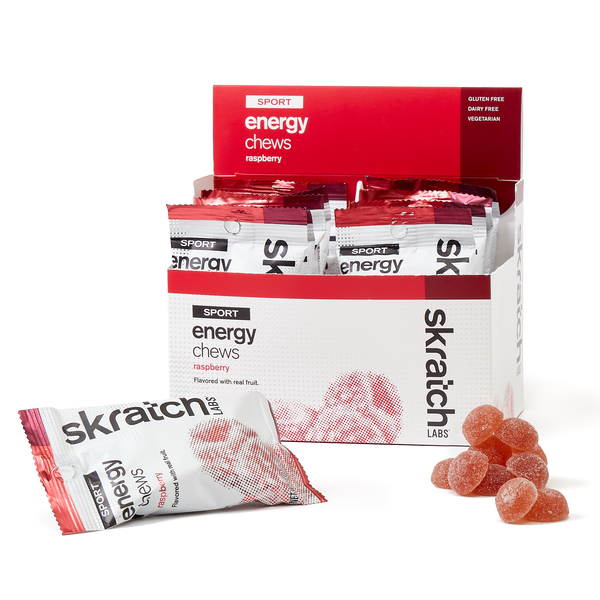Skratch Labs Sport Energy Chews - Raspberry (50g) - Box of 10 Pouches