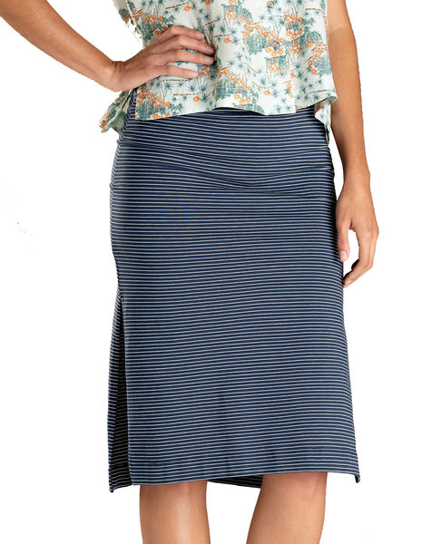 Toad & Co. Samba Paseo Midi Skirt - Women's Color: Deep Navy Stripe
