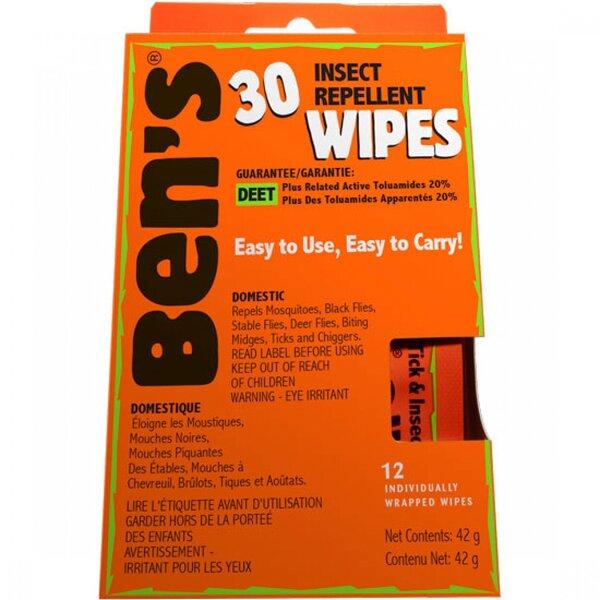 Ben's Ben's 30% Tick & Insect Repellent Wipes, 12 per Box