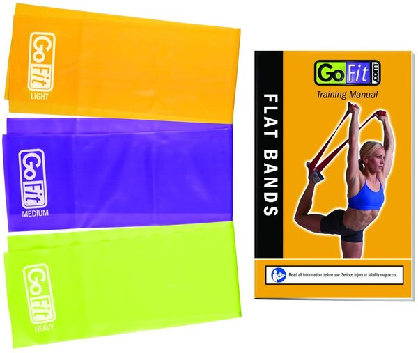 """GoFit Laytex-Free TPR Flat Band Set (3)-6' Long 5"""" Wide With Exercise Booklet"""