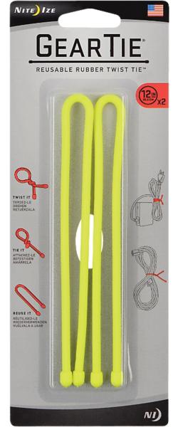 """Nite Ize Gear Tie Reusable Twist Tie 12"""" - 2 Pack"""