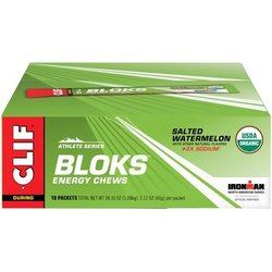 Clif Bloks Energy Chews - Salted Watermelon - Box of 18 Packs (6 x 10g chews per pack)