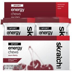 Skratch Labs Sport Energy Chews - Sour Cherry (50g) - Box of 10 Pouches