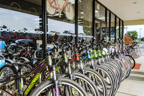 Bikes in front of Family Bike Shop