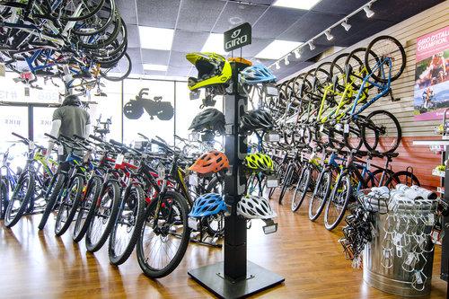 Bikes on floor at Family Bike Shop