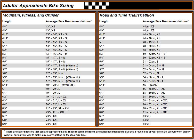 Bike Sizing Charts Www Bikebarnracing Com Whitman Ma 781 447 7223