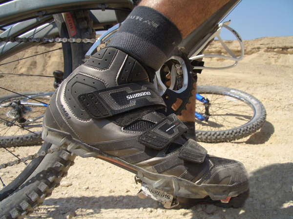 Mountain bike shoes have lugged soles for excellent traction!