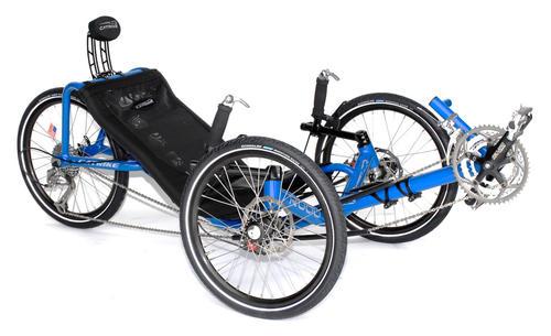Blue catrike recumbent bike