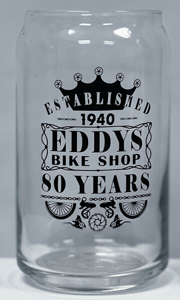 Eddy's Bike Shop EDDYS 80YRS 16OZ CAN GLASS