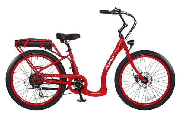 Pedego Boomerang Color: Red, Standard Wheels, 48/15 Battery