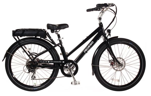 "Pedego Step Thru 28"" City Commuter Color: Black, 48/15 Battery"