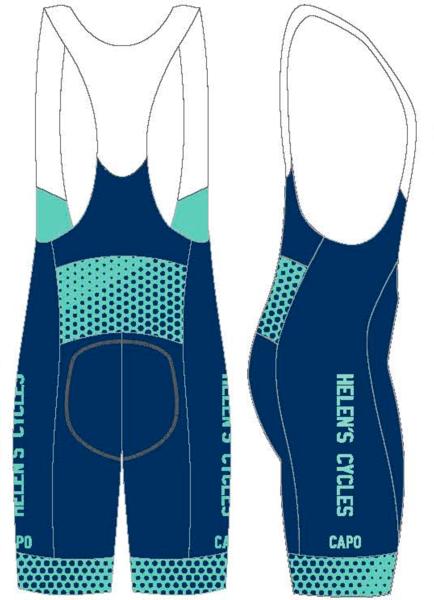 Helen's Cycles/I. Martin Bicycles Helen's Cycles Blue Dot Custom Kit –bib shorts by Capo