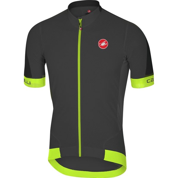 Castelli Volata 2 Jersey FZ Color: Black/Fluo Yellow