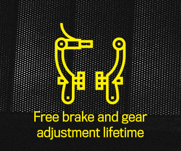 Free brake and gear adjustment lifetime