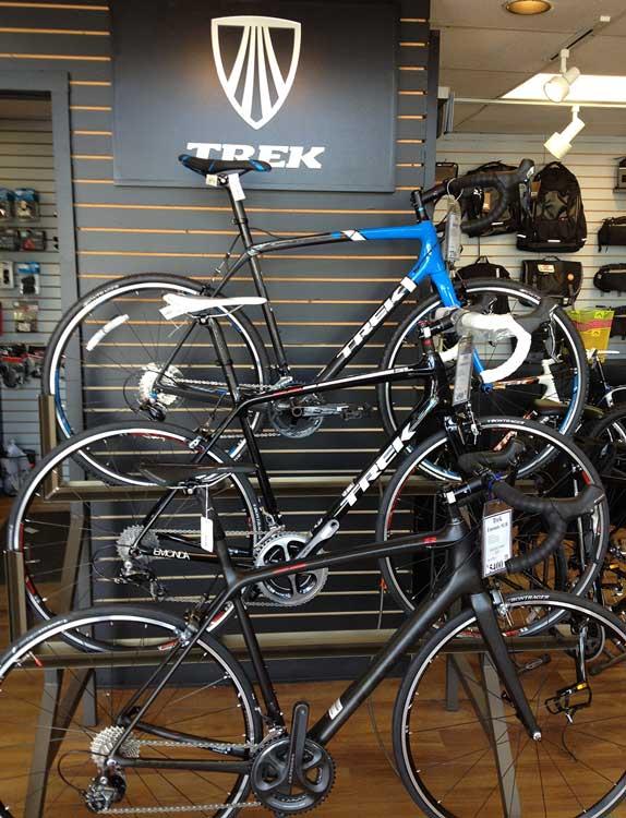 Trek bikes on display