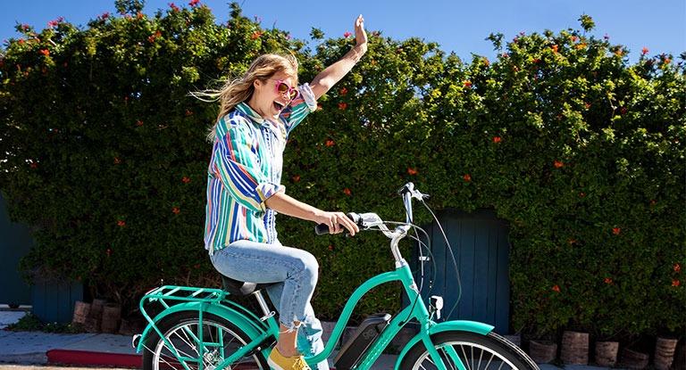 Happy person on a bike