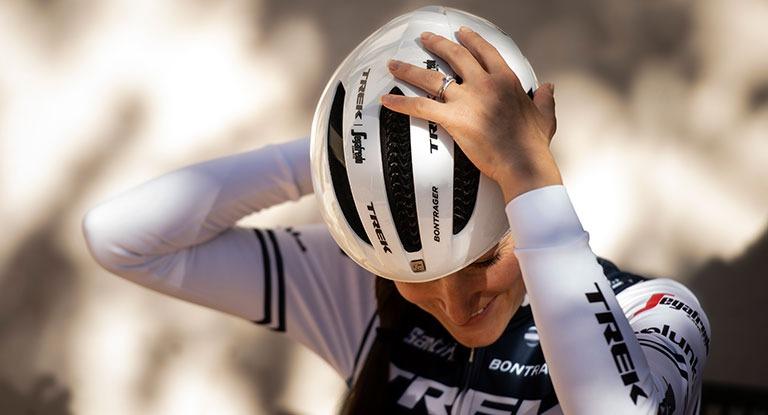 Person wearing a helmet