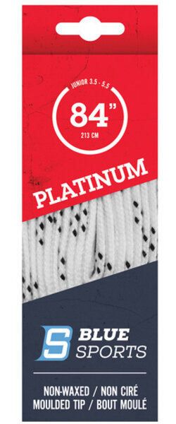 Blue Sports Platinum non-Waxed Hockey Skate Laces - White - COPY