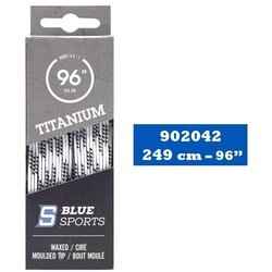Blue Sports Titanium Waxed Hockey Skate Laces - White