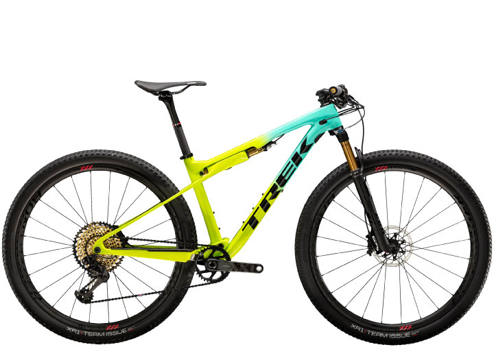 Trek Supercaliber 9.9 XC mountain bike in yellow/green