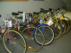 Row of used bikes indoors