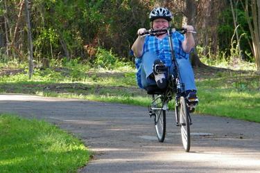 Happy recumbent rider