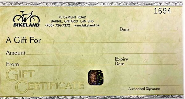 Bikeland Gift Certificate