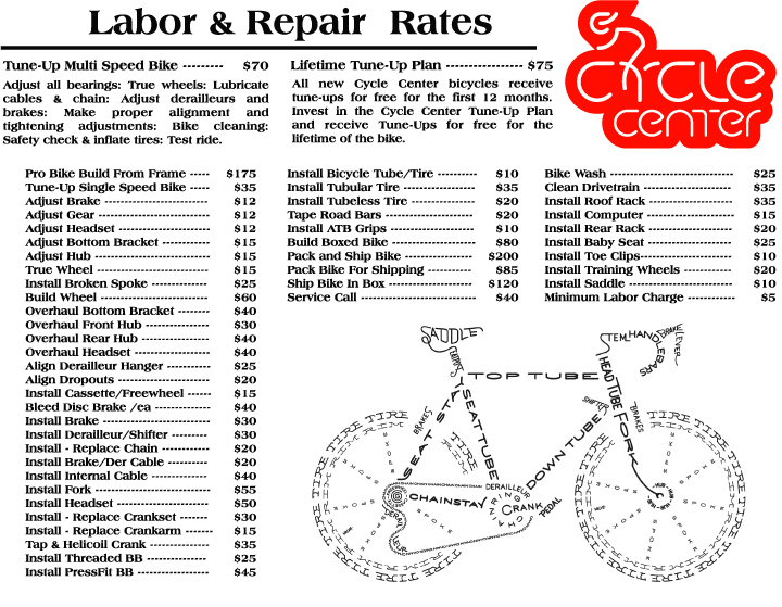 Bike Repair and Service Rates