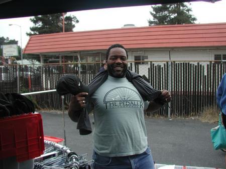 Former employee wearing his Pedaler t-shirt