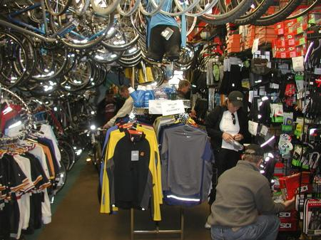 People looking at bike product