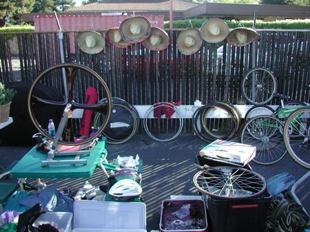 Bicycle parts on display