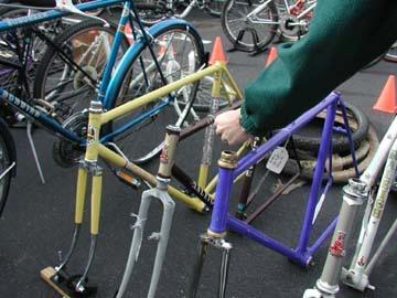 Bike frames lined up