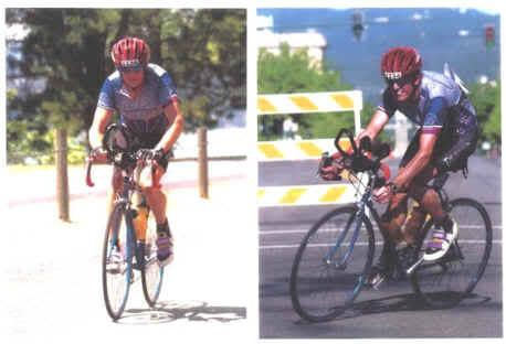 two photos of a road cyclist