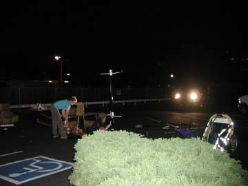 People cleaning up at night