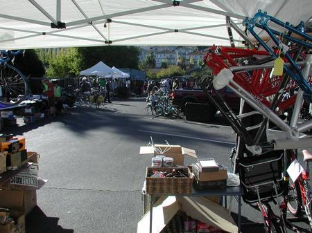 Inside a bicycle swap meet tent