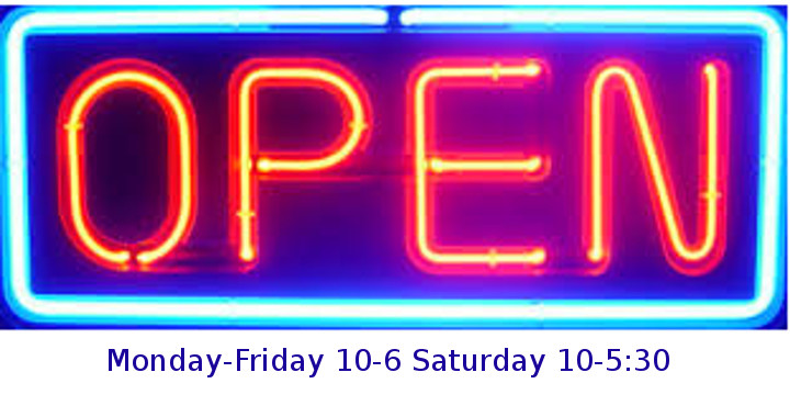 Open M-F 10-6, Saturday 10-5:30