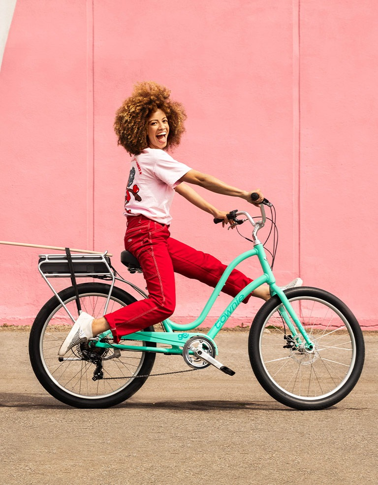 woman on electra townie
