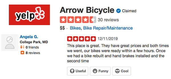Yelp Reviews for Arrow Bicycle