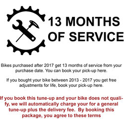 Danny's Cycles Customer Tune-up (covers new bikes for 13 months)