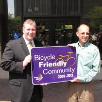 Indianapolis Mayor Greg Ballard, League of American Bicyclist Executive Direct Andy Clarke