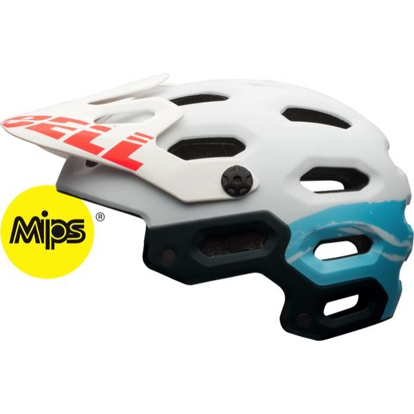 Bell Super 2 MIPS Color: Matte White/ Glacier Blue Sonic
