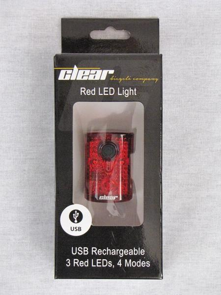 Clear Bicycle Company Rear 3 LED Light - USB Rechargable