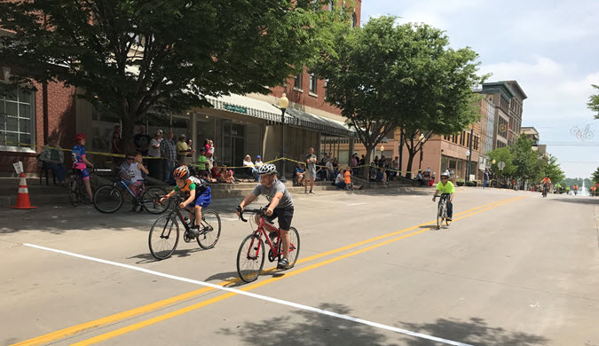 Snake Alley Criterium Kid Races on Jefferson Street in Downtown Burlington, IA