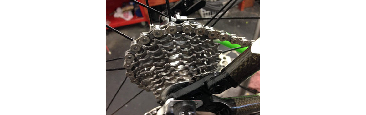 Ultrasonically cleaned bike cassette
