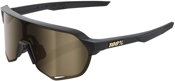 100% S2 Sunglasses Color: Matte Black Frame/Gold Lens