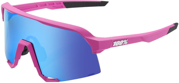 100% S3 Sunglasses Color: Pink Frame/Blue Lens